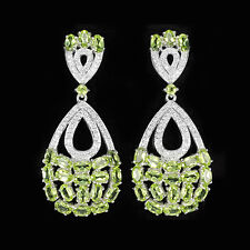 925 Sterling Silber Ohrringe Natürliche Grün Peridot & Weiße Cubic Zirconia Neu