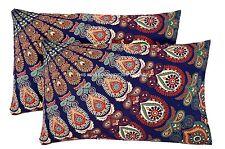 "2 PC Indian Peacock Mandala Cotton Pillow Case / Cushion Cover Home Decor 28"""