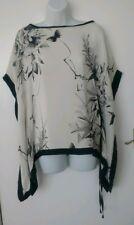 Beautiful KAREN MILLEN Silk Kimono Top Ivory Grey Black Print UK 6 EUR 34 US 2
