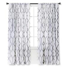 "ONE THRESHOLD METALLIC SILVER TRELLIS Linen Window Panel 54""x84"" Curtain NEW"