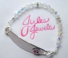 Top Brand Crystals Clear AB Medical Alert ID Replacement Bracelet.