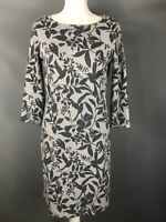 M&S Size 10 Grey Silver Stripe Floral Thick Jersey Dress 3/4 Sleeves Cotton Mix