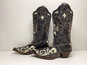 VTG WOMENS CORRAL SNIP TOE COWBOY BLACK/WHITE BOOTS SIZE 8  M