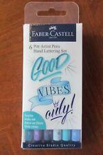 Faber-Castell Pitt Artist Pen Hand Lettering Set - 6 Blue Brush Lettering Pens