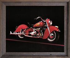 Vintage Red Indian Motorcycle Road master Wall Decor Barnwood Framed Picture