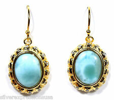 Natural AAA Dominican Larimar 18kt Yellow Gold Plated Sterling Silver Earrings