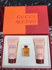 NEW Gucci Accenti Parfum 0.17 Oz, Body Lotion, & Shower Bath Gift Set