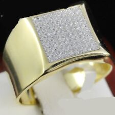 Men'S Yellow Gold Over .925 Sterling Silver Diamond Wedding Band Ring Size 7-14
