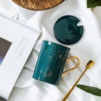"""""""Starry Cat"""" Cute Ceramic Mug with Lid Spoon Milk Coffee Tea Cup Kids Drinkware"""