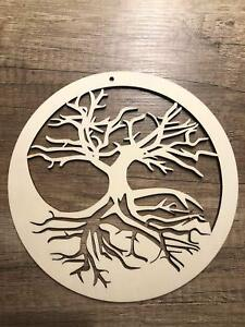 Tree of Life Wall Decoration Picture Deco Shield Sign 5 7/8x5 7/8in Wood