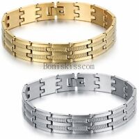 Men's Stainless Steel Bracelet Wide Link Charm Fashion Chain Bangle Wristband