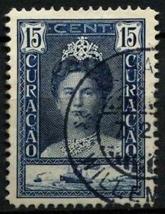 Curacao 1928-32 SG#116a, 15c Indigo Queen Wilhelmia P12.5 Used #D43847
