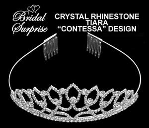 Bridesmaid, bride crystal rhinestone contessa tiara FREE GIFT W/ PURCHASE- C-vid