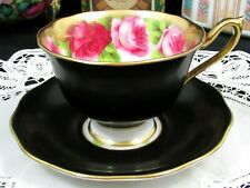 ROYAL ALBERT OLD ENGLISH ROSE FLAT BLACK HEAVY GOLD TEA CUP AND SAUCER