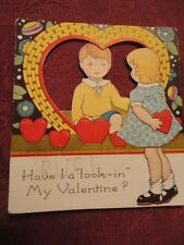 Valentine Card Children Have I a Look In My. Window Used Fold Out Vintage