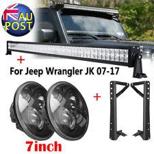 52inch LED Light Bar+7inch Driving Lamp Mount Bracket For 07-17 Jeep Wrangler JK