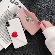 Heart Envelope Leather Wallet Card Slot Case Cover For iPhone XS Max XR X 6 8 7+