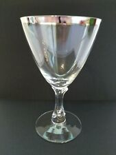 Fostoria Wine Glass Silver Rim Wedding Barware Elegant Vintage Orig. Note**