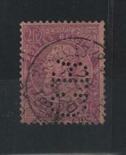 Belgium 1886 King Leopold Ii Nice 2 Franks Violet With Cr Perfin Sc# 59