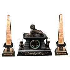 3-Piece Egyptian Revival Bronze & Marble Clock Set #5306