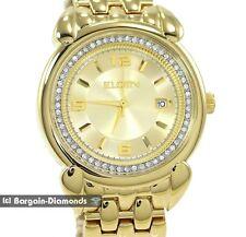 mens Elgin gold tone business success watch calendar white CZ bracelet