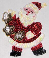 "Decorative Fancy Craft 5"" Bead Sequin SANTA Patch"