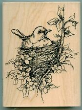 STAMPENDOUS rubber stamp NESTLED BIRD wood mounted, Nest Blooms EX-Large, R158