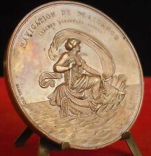 * Médaille Yacht club de France Allégorie ancre et dauphins 1888 Hamel Medal 铜牌