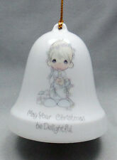 Precious Moment May Your Christmas Be Delightful Porcelain Holiday Bell Ornament
