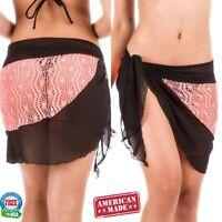 Coqueta womens Swimwear sheer beach Cover up Beach Sarong CROCHET CHIFFON CORAL
