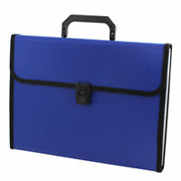 Blue 13 Compartments Rectangle Paper Document File Holder Organizer Bag