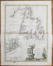 Zatta Large Original Map Newfoundland Canada - 1779