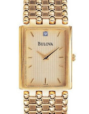 Bulova 97F19 Rectangle 1Diamond Gold Tone Bracelet S/S Gold Dial