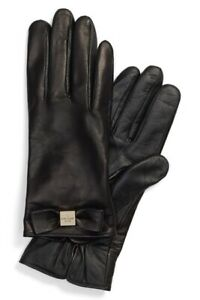 Women's Kate Spade Black Leather Bow Gloves S Small NWT.