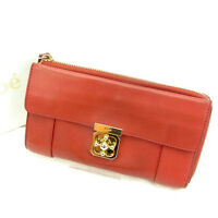 Chloe Wallet Purse Long Wallet Red Gold Woman Authentic Used Y304