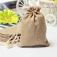 50PCS 7X9cm Burlap Jute Hessian Wedding Favor Gift Candy Bags Drawstring Pouches