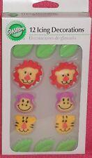 Jungle/Safari Animal Edible Sugar Cupcake Toppers,Royal Icing,Wilton,Multi-color