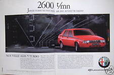 PUBLICITÉ 1987 ALFA ROMEO NOUVELLE ALFA 75 TURBO - ADVERTISING
