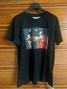 """OFF WHITE t-shirt stampa """"Caravaggio"""" S/s 2021 in cotone nero Unisex, NUOVO"""