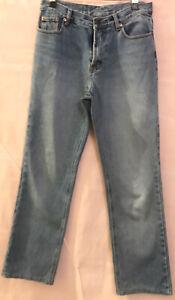 30 LEVI STRAUSS LEVIS Blue Denim Vintage 544 Straight Leg Jeans Pic 8-10 Defects
