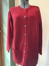 Laura Ashley Womens Ladies Red 100% Wool Long Cardigan Tunic Sweater Size M
