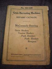 1938 No. 83-GM McCormick Deering Grain Harvesting Machines Parts Manual Binder