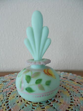 FENTON LOTUS MIST GREEN BURMESE HAND PAINTED BUTTERFLY PERFUME BOTTLE *QVC*
