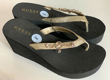 "NEW! GUESS ""ABOVE"" GOLD RHINESTONES GLITTERS BLACK PLATFORM WEDGES SANDALS 9 39"