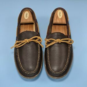 LL BEAN Wicked Good Mens 8 Brown Leather Flannel Rubber Sole Moccasin Slippers