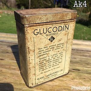 Vintage Glucodin Tin Glucose-D GL Glaxo Laboratory LTD. of Middlesex