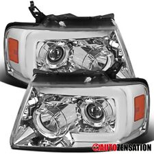 For 2004-2008 Ford F150 Clear Projector Headlights+Switchback LED DRL+Seq Signal