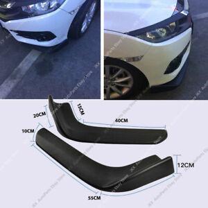 2Pcs Universal Black Winglet Type Front Bumper Lip Splitter Diffuser Canard PP