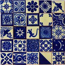 """100 MEXICAN TALAVERA  TILE 2x2""""  FOLK ART BLUE & WHITE DESIGNS HANDMADE CLAY"""