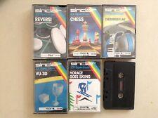 5x Sinclair ZX Spectrum casetes-Horacio, Reversi, ajedrez, Bandera a cuadros, VU3D